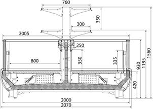 Холодильная витрина Nautilus W-2100 островная версия